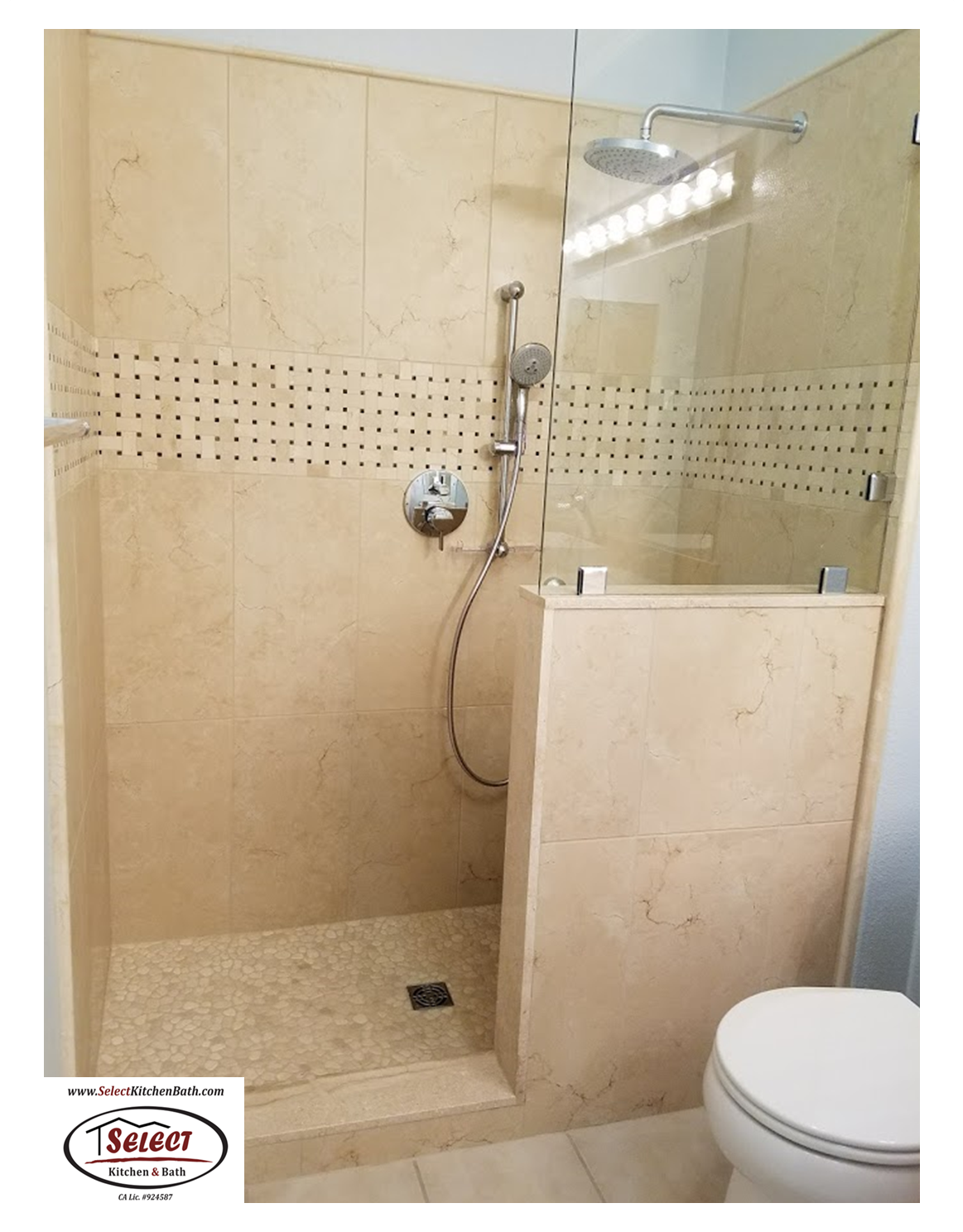 Beautiful Crema Marfil Marble Tile Shower With Basket Weave Accent Pebble Shower Pan Installed By Selec Bathrooms Remodel Kitchen And Bath Shower Wall Tile