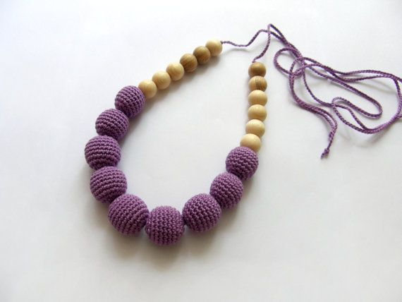 Sale! Organic Purple nursing necklace - Teething necklace - Breastfeeding Necklace - Crochet Necklace - Gift for Babywearing Moms