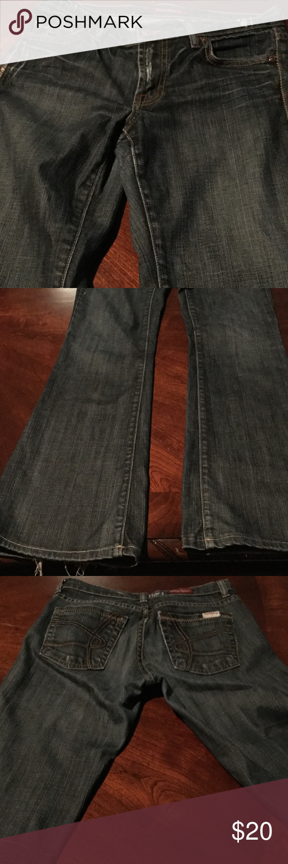 David Kahn boot cut jeans David Kahn boot cut jeans are very cute with design on back pocket and the jeans has some fraying on the end which gives them more of a edgy look!! A size 27 and very sexy pair of jeans!!! David Kahn Jeans Boot Cut