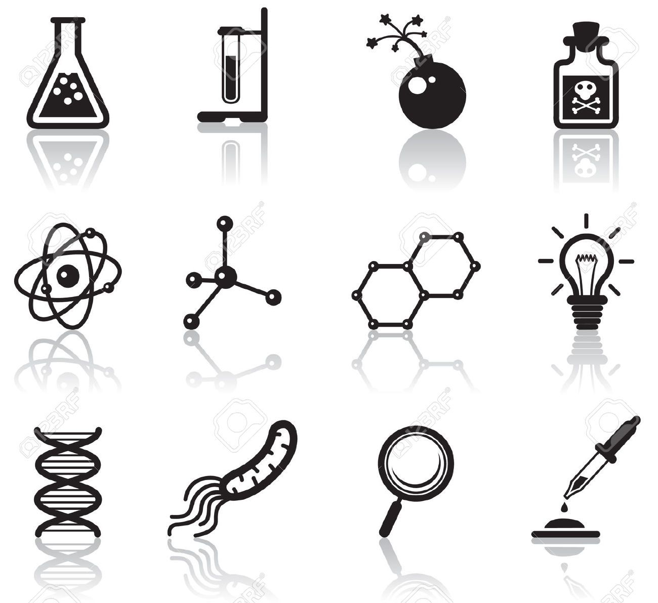 Black minimalistic science Science icons, Icon set