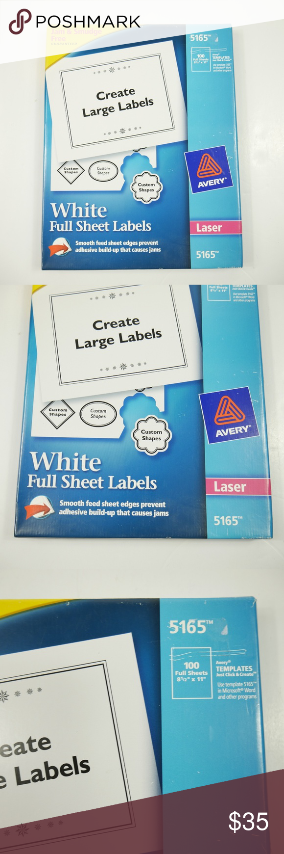 Avery 5165 White Full Sheet Shipping Labels 100pc New Avery White Full Sheet Shipping Labels 5165 Laser 8 1 2 X 11 Office Labels Sheet Labels Shipping Labels