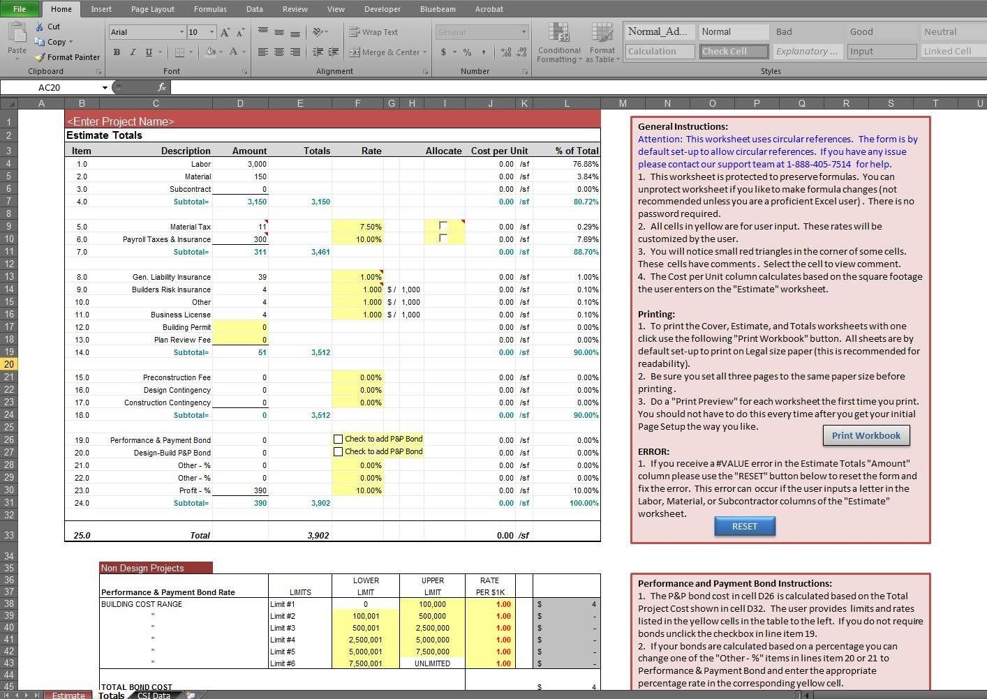 Building Construction Estimate Spreadsheet Excel Download Estimate Template Spreadsheet Template Construction Quotes Construction cost estimate template excel
