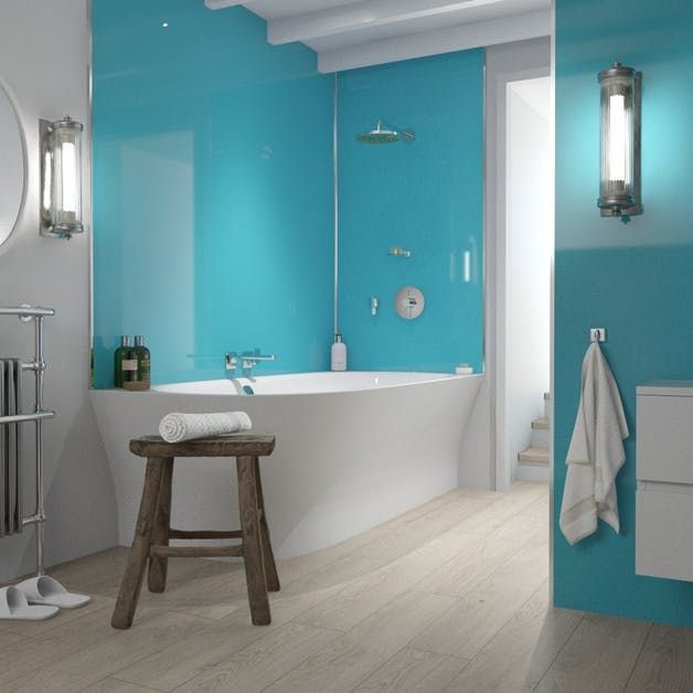 blue turquoise mr mdf shower panel 2420mm x 1200mm x 11mm