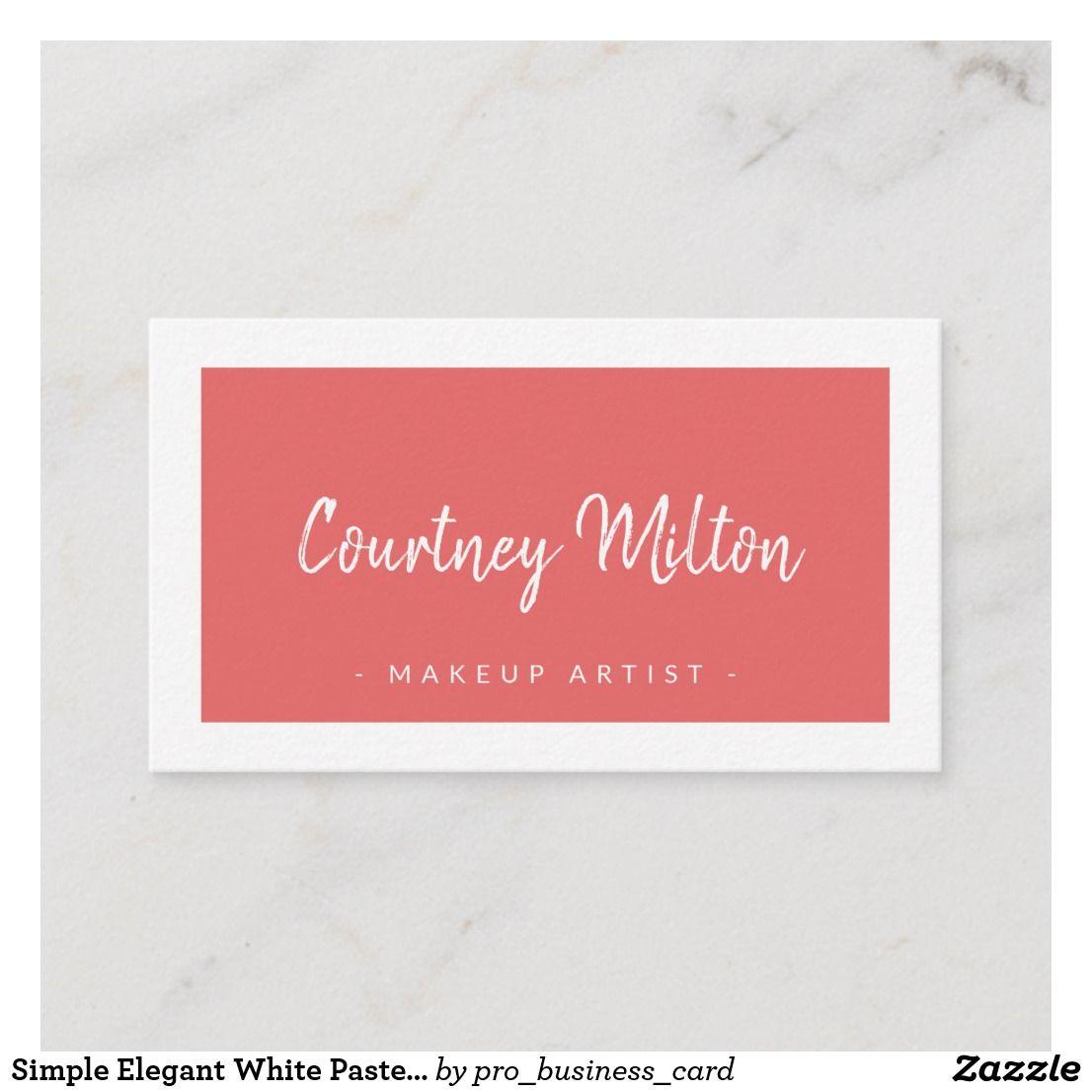 Simple Elegant White Pastel Makeup Artist Business Card