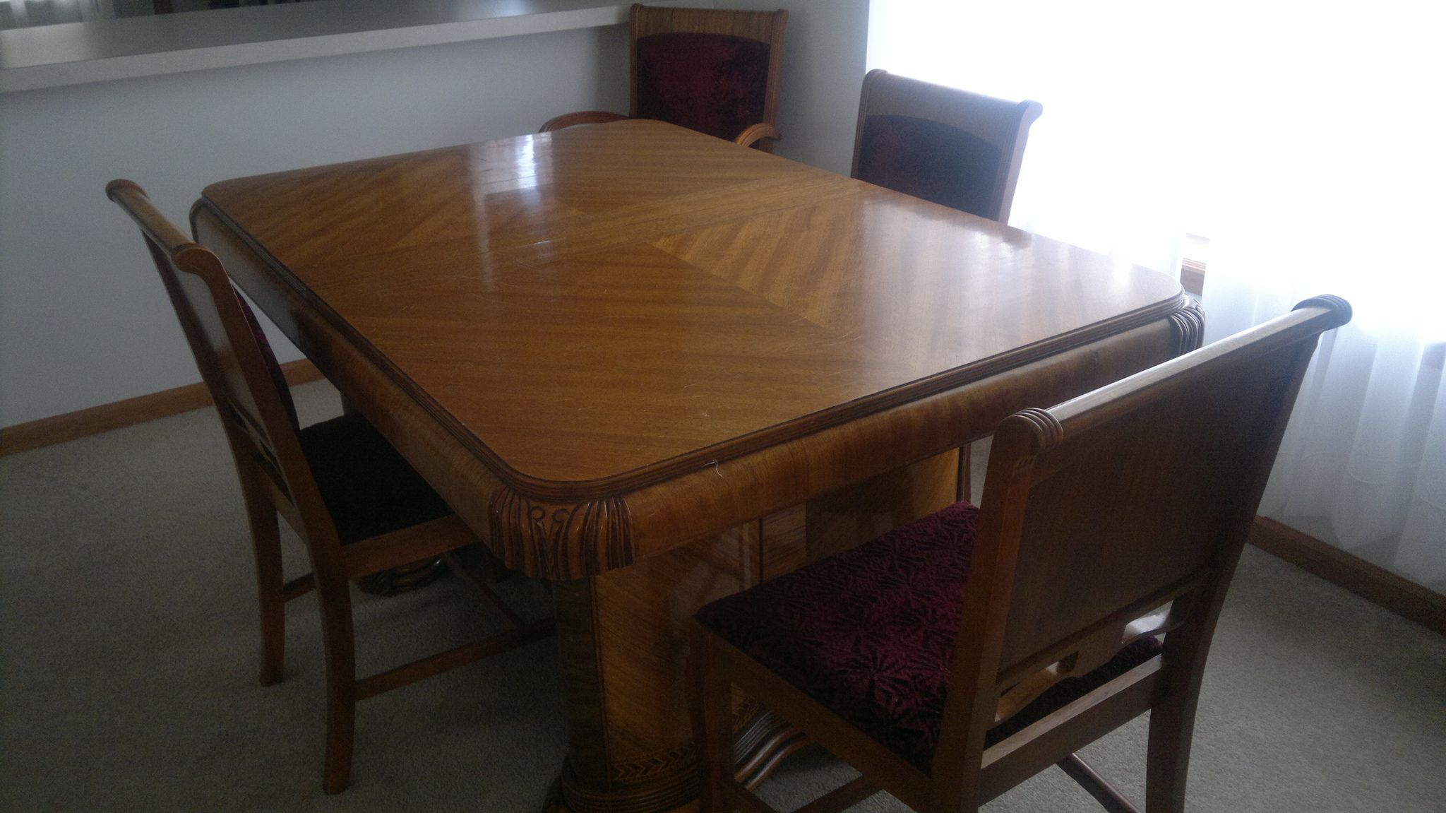 Early 1940 S Art Deco Dining Table On Top W 6 Chairs Dark Red Coverings Original Dining Table Dining Table