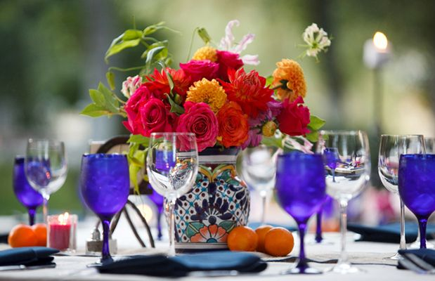 Sangria Pitcher Centerpiece Spanish Wedding Inspiration For Mobella Events Www Mobellaevents Mexican Weddingsmexican Decorationsspanish