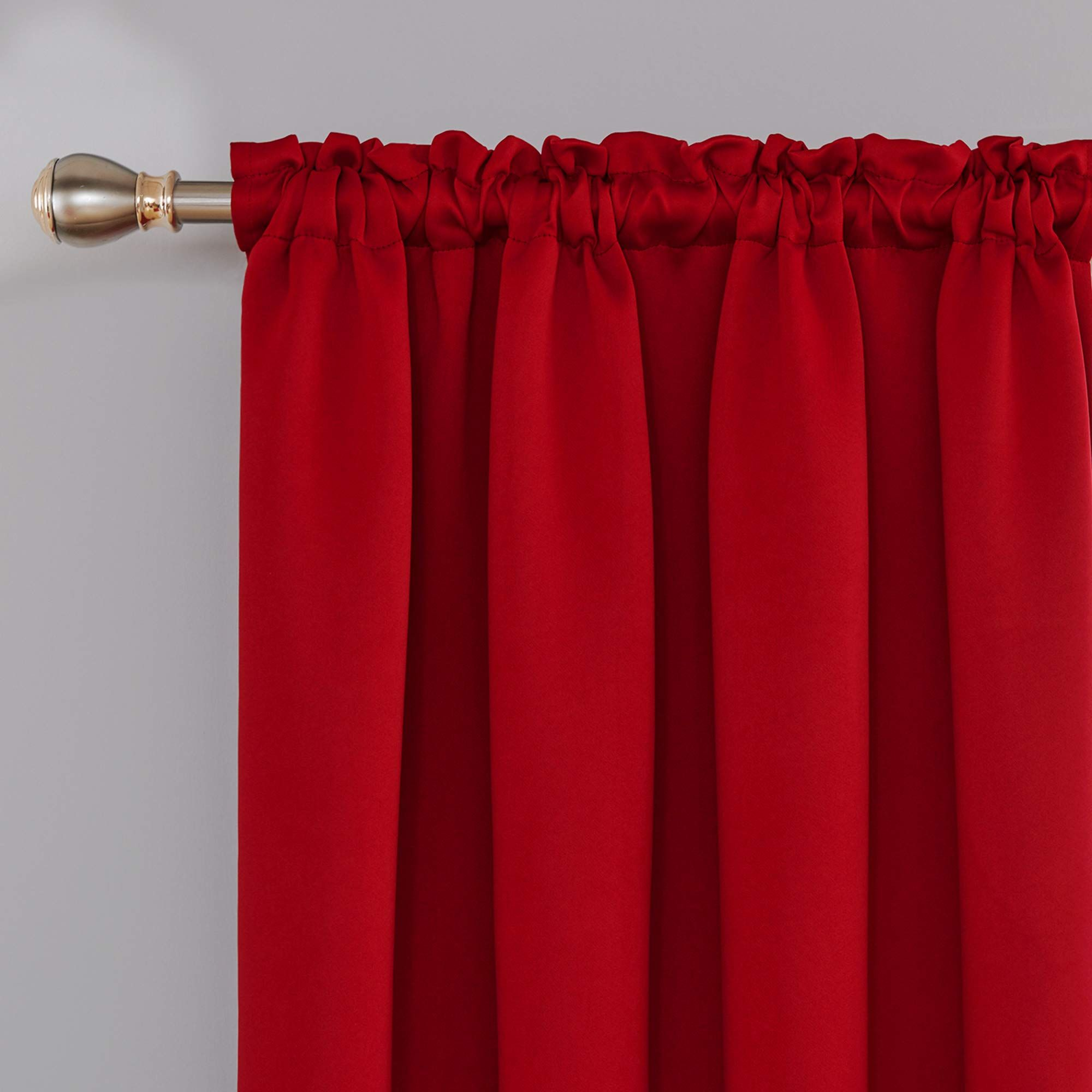 deconovo red blackout curtains rod