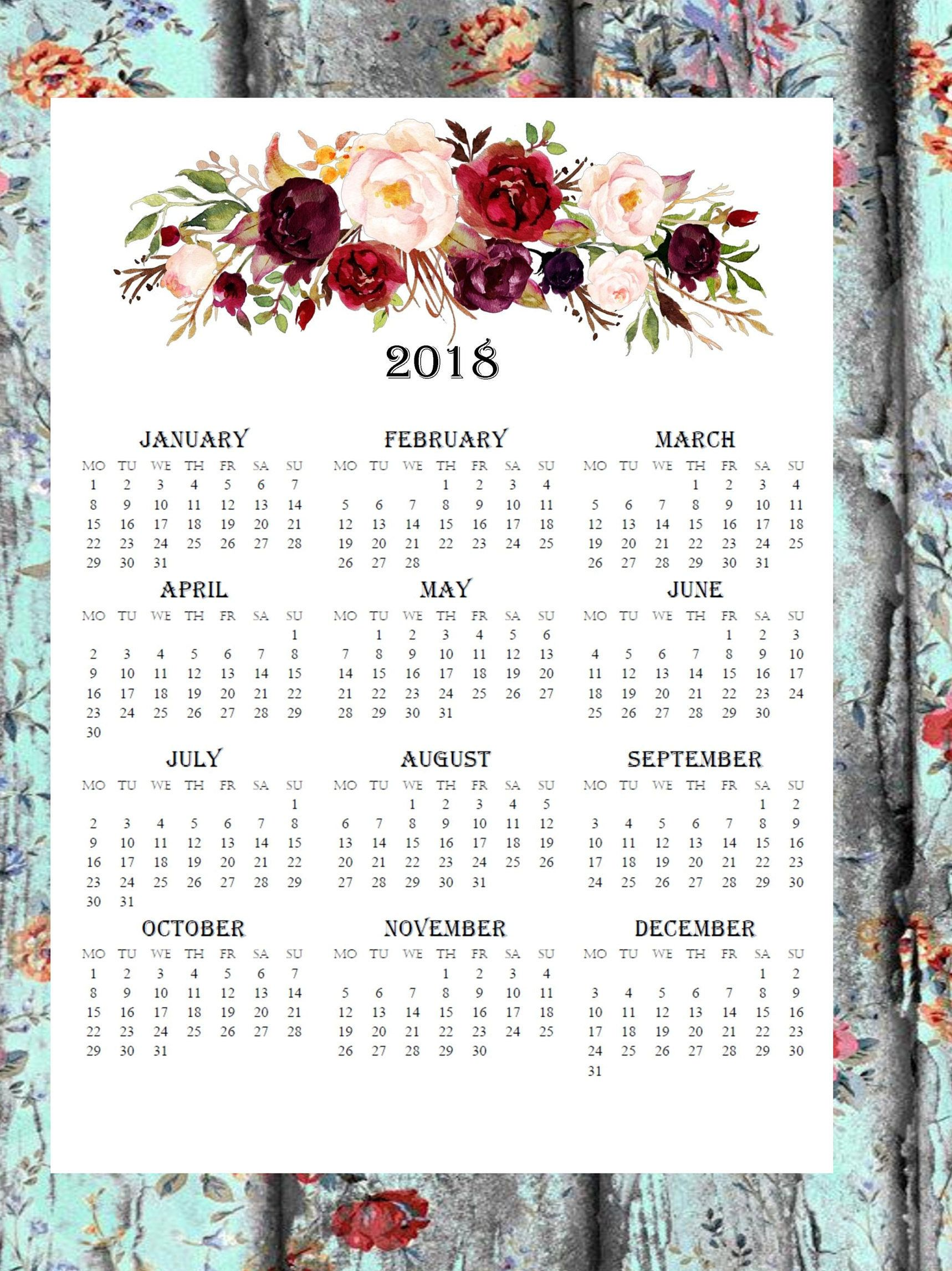 2020 Large Wall Calendar Printable Wandkalender Monthly Calendar