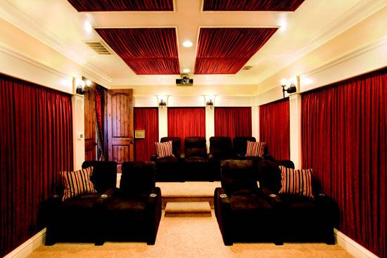 dramatic home theater design with curtains on every wall digsdigs - Home Theater Interior Design