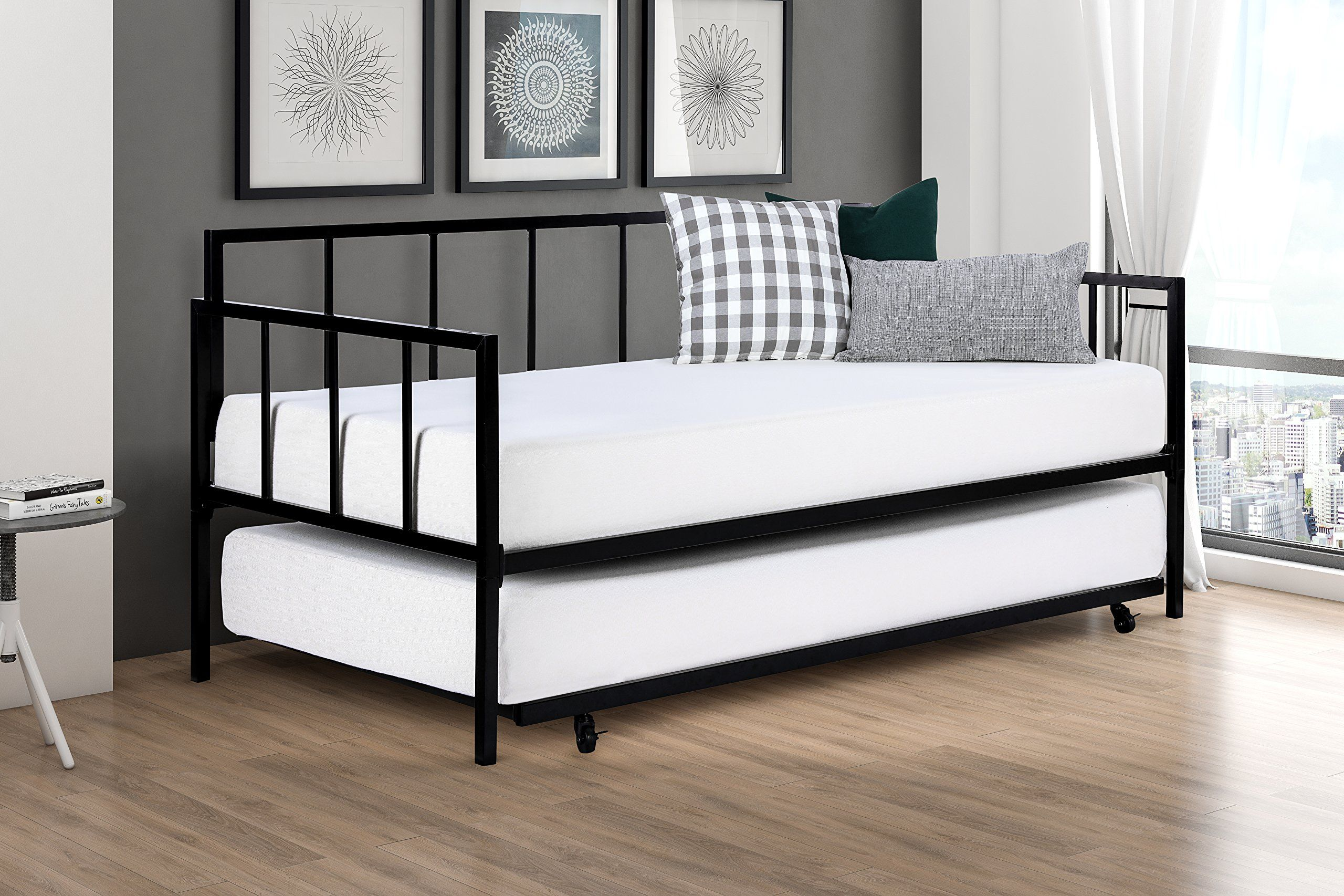 Modern Finlay Daybed with Trundle Combo, Twin Metal Bed Frame ...
