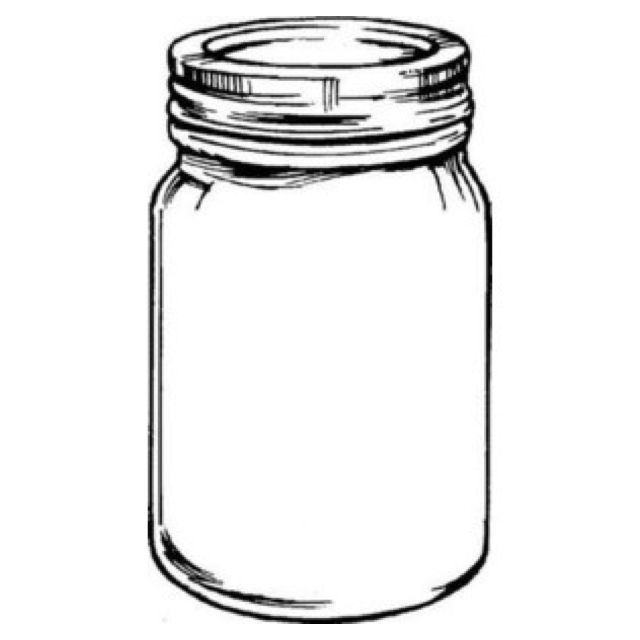 Mason Jar With Flowers Clipart Black And White | Jars&Tins