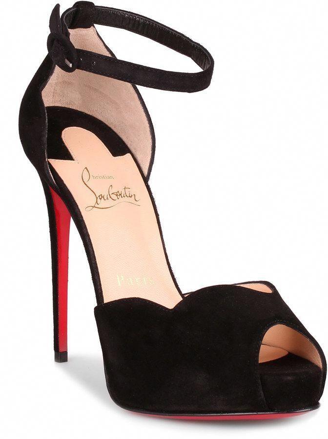 dea11b342aa Christian Louboutin Aketata 120 black suede platform sandal ...