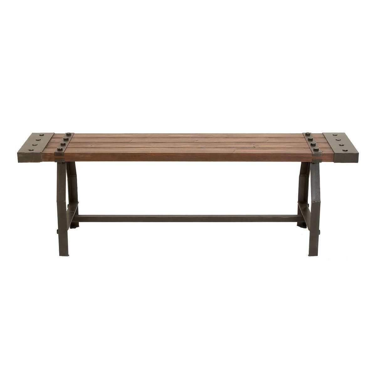 Studio Rustic Industrialinspired Wood Bench Brown Iron