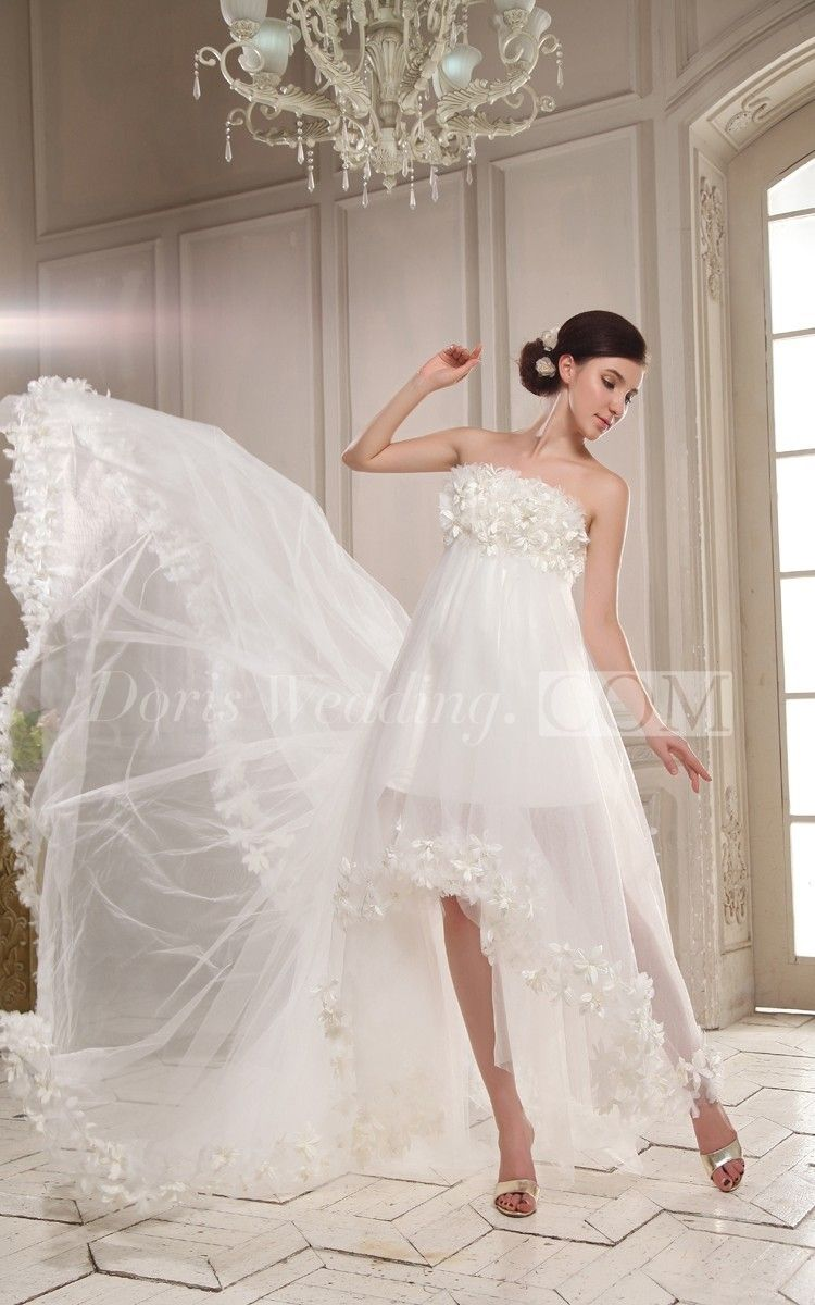 Long dresses for wedding reception  Strapless HighLow Pleating Dress With Flowers  High low Flowers