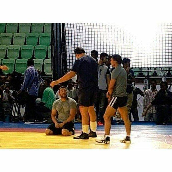 On the Sets! - Salman Khan in between wrestling shots while shooting for his upcoming movie, 'Sultan'