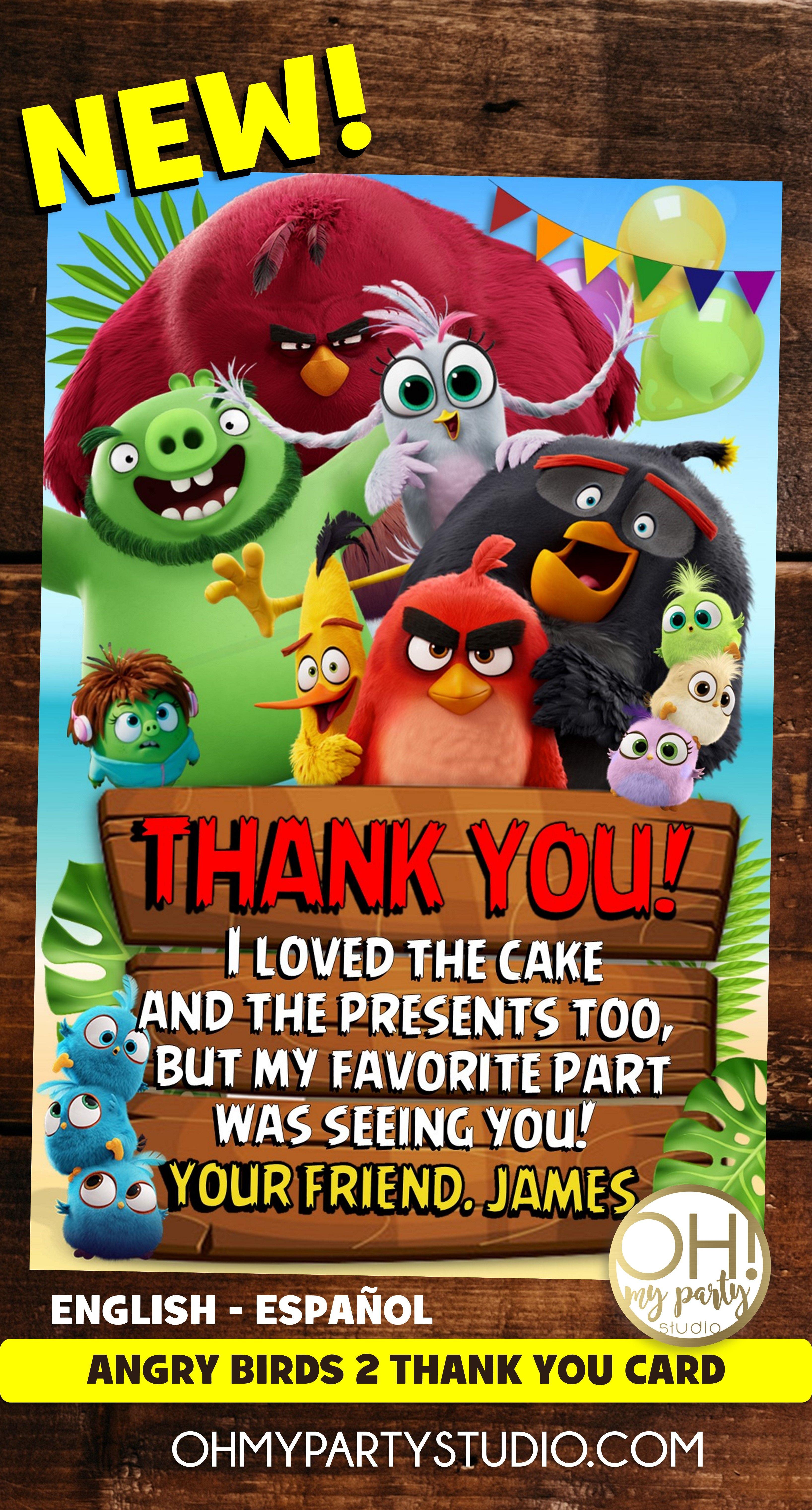 Angry Birds Party Angry Birds 2 Angry Birds 2 Thank You Card Angry Birds Movie Thank You Card Angry Birds Party Angry Birds Angry Birds Movie