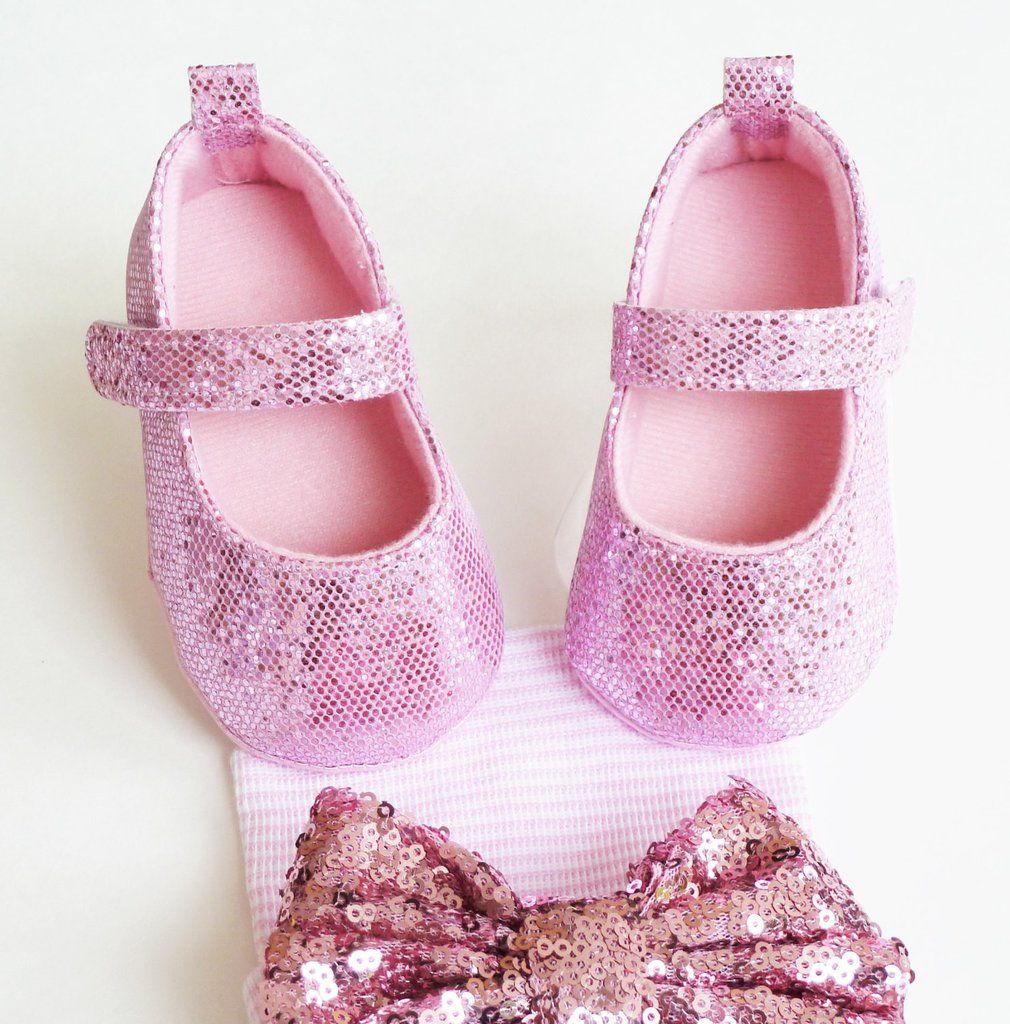 ce607a38e0bc Pink Baby Shoes    Very trendy sequin shoes ideal for any special  occasion!! Pink soft sole shoes with strap are the perfect way to add a  little sparkle to ...