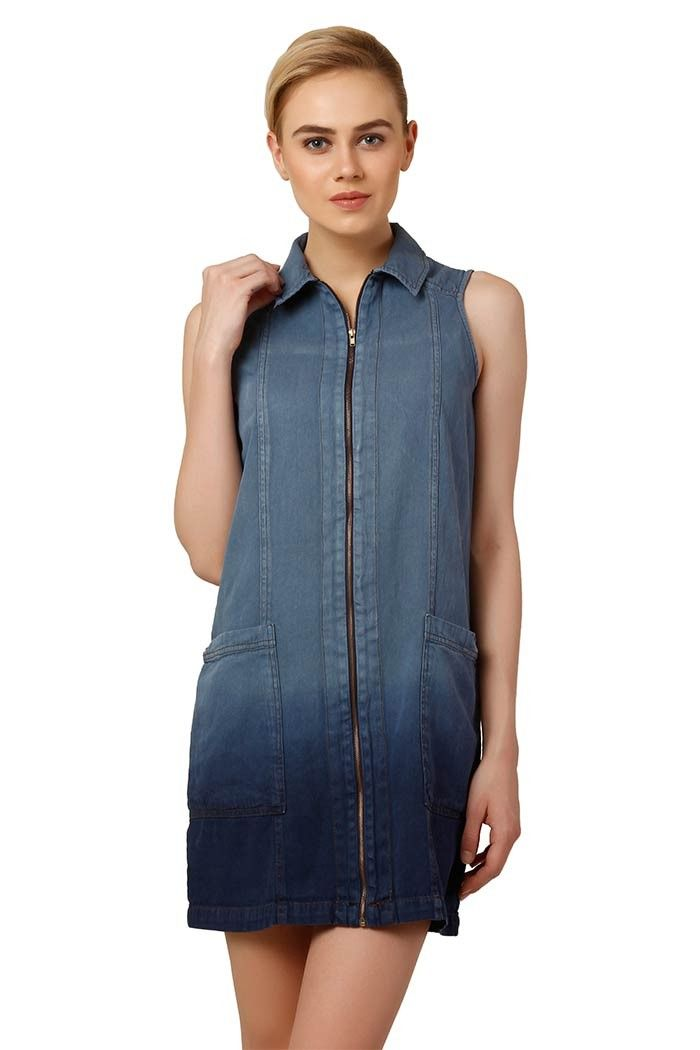 7156ffe471 Denim Shift Dress With Zip And Pockets