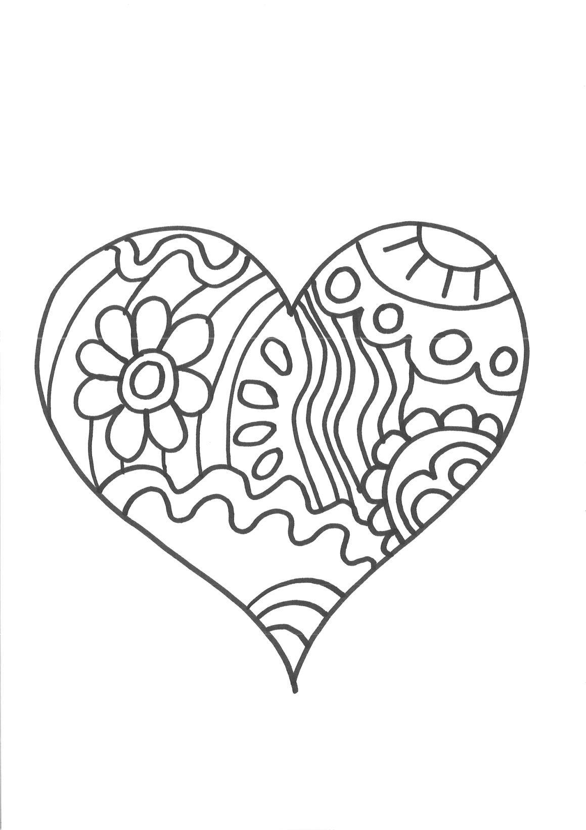Kostenlos Malvorlage Herz Für Entwickelt Räumliches Bewusstsein in