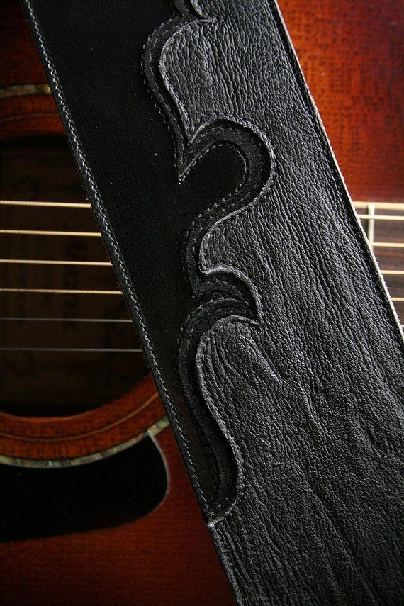 Guitar Strap Black Leather Guitar Strap With Shark Skin Ebony Road Guitar Strap On Etsy 328 00 Guitar Strap Leather Guitar Straps Handcrafted Leather