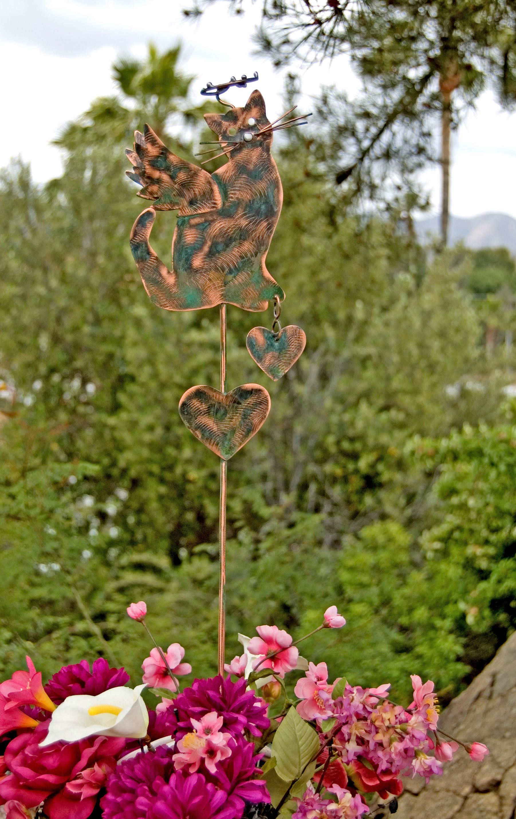 Cat Angel Pet Memorial Garden Stake / Outdoor Metal Garden Art / Copper Art  / Metal