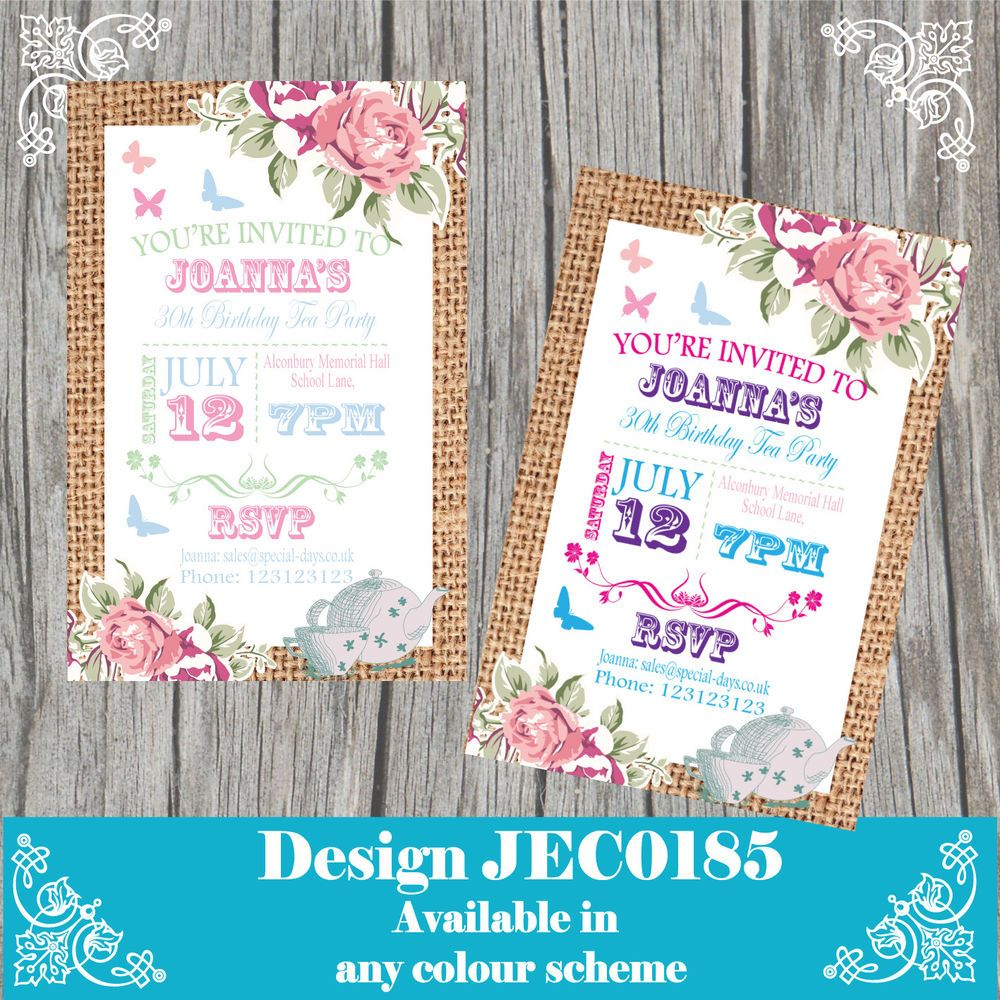 10 Personalised Birthday Invitations 18th 21st 30th Any Age Vintage ...