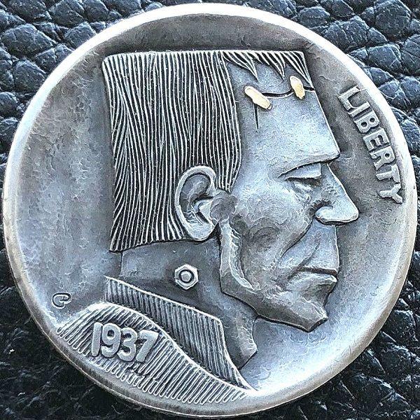 Hand Engraved Silver Morgan Dollar Hobo Nickel Skull Love Token OHNS gold inlay