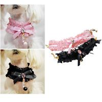 Pet Neck Lace Puppy Cat Dog Lace Pearl Pendant Collar Wedding Princess Necklace