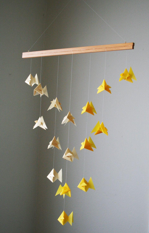 origami mobile goldfish school of fish hanging decor origami paper sculpture modern. Black Bedroom Furniture Sets. Home Design Ideas