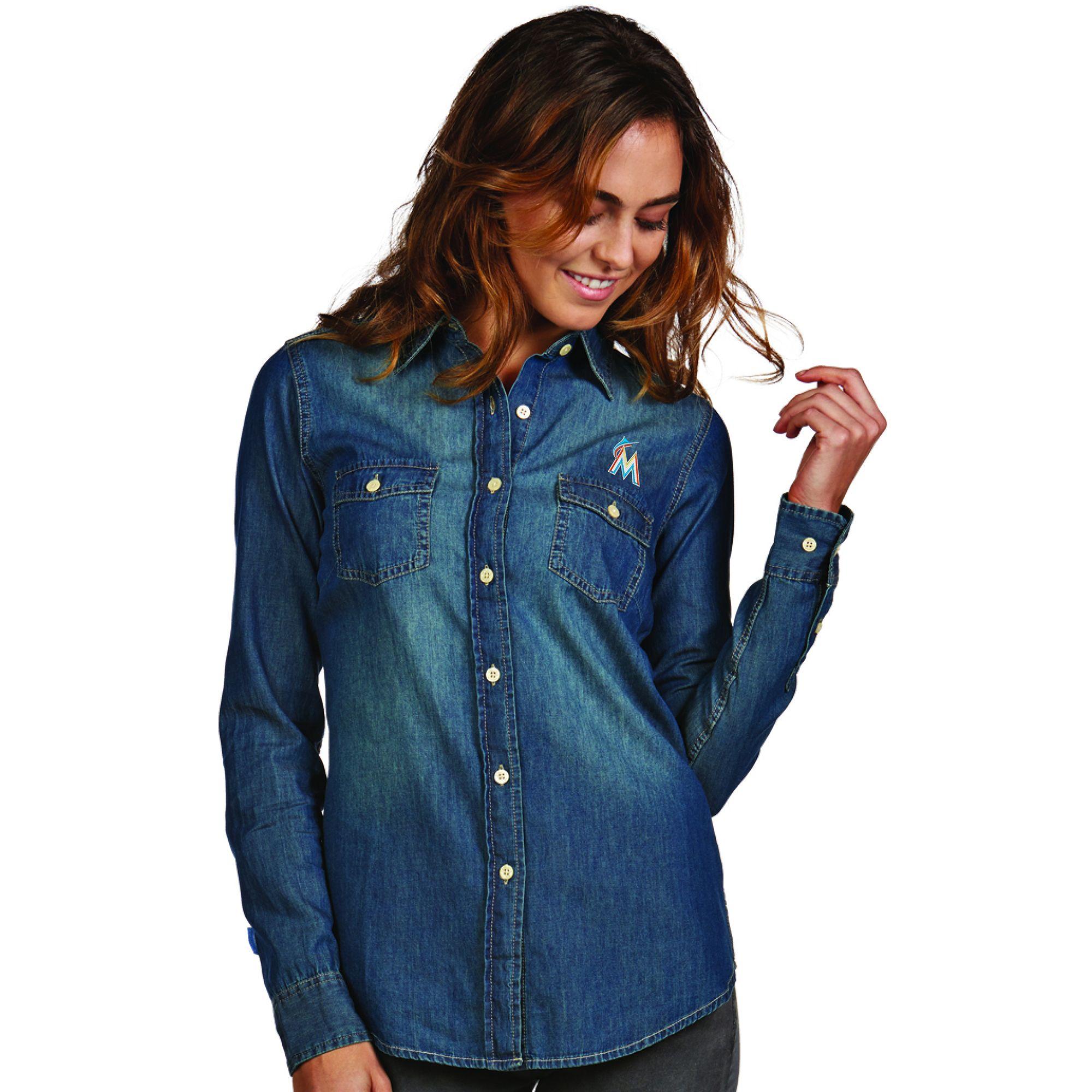 MLB Miami Marlins Antigua Women's Chambray Long Sleeve Shirt - Blue