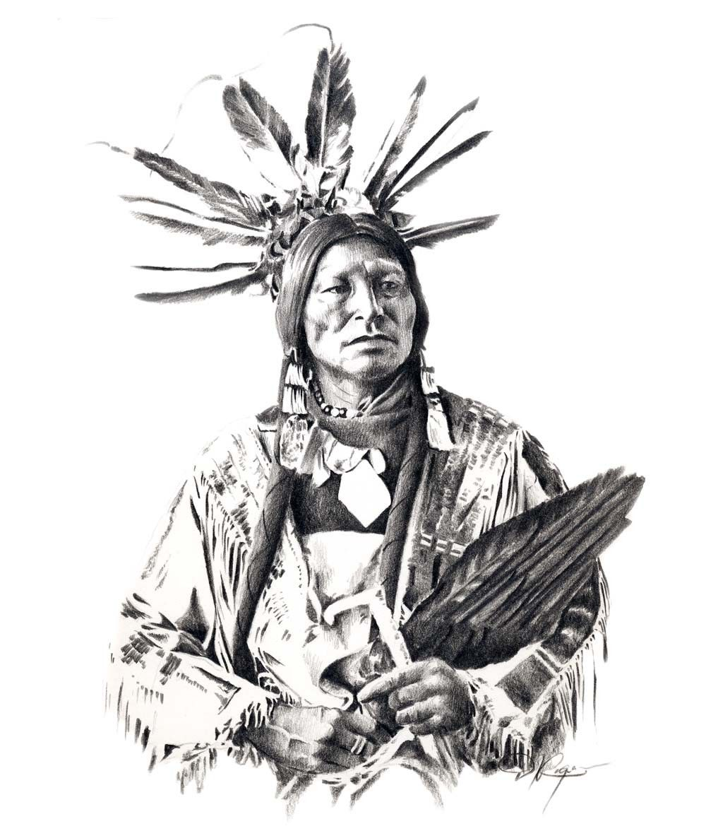 Chief many horns pencil drawing american indian by k9artgallery
