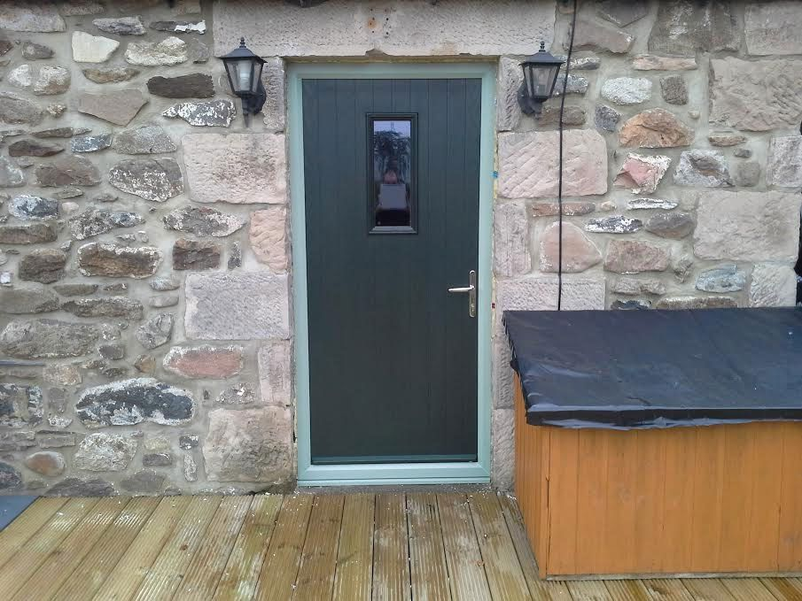 1 square composite door in grey with chartwell green for Back door frame