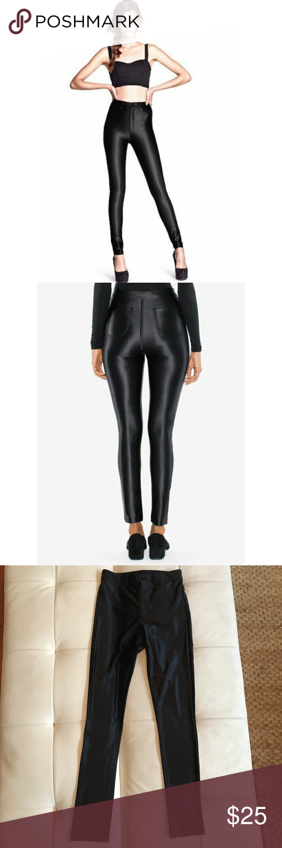 138812f6e0b Shiny Black Disco Pants High waisted sleek fit