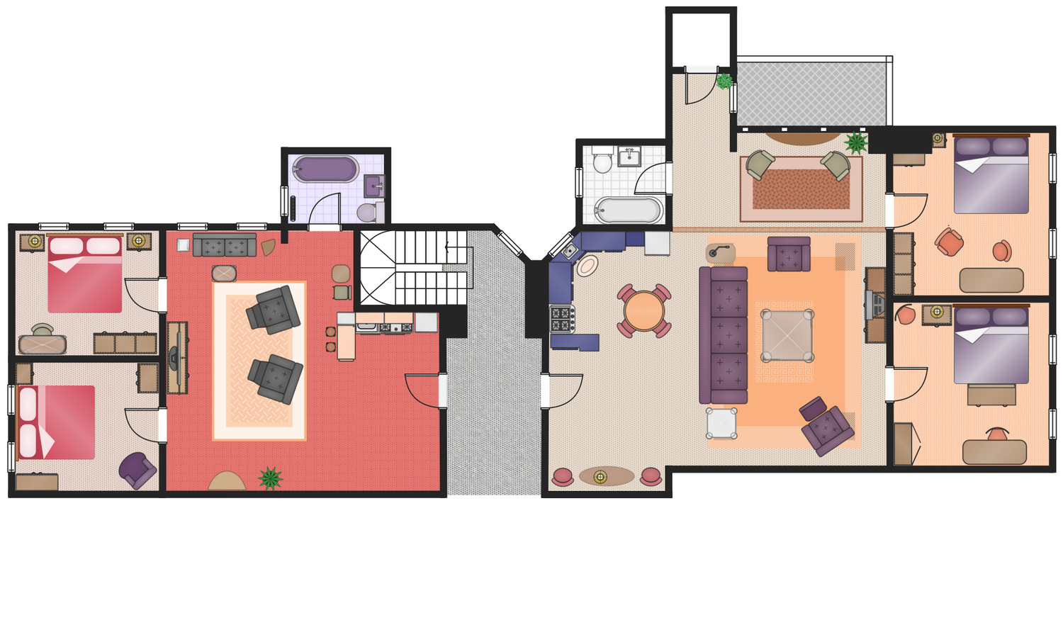 Friends Tv Show Appartments This Example Was Created In Conceptdraw Pro Using The Libraries From The Floor Plans Floor Plan Symbols Floor Plans How To Plan