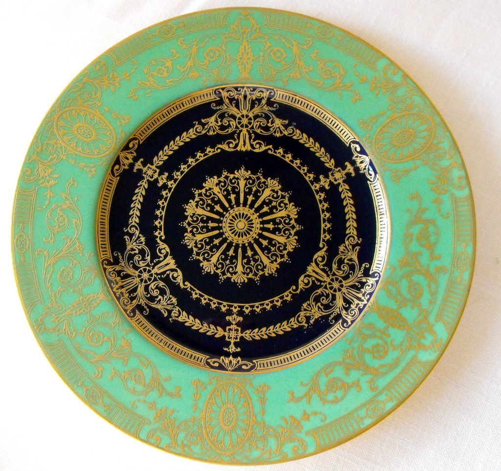 Antique Royal Worcester Plate w/cobalt well from Orphaned Treasures Exclusively on Ruby Lane