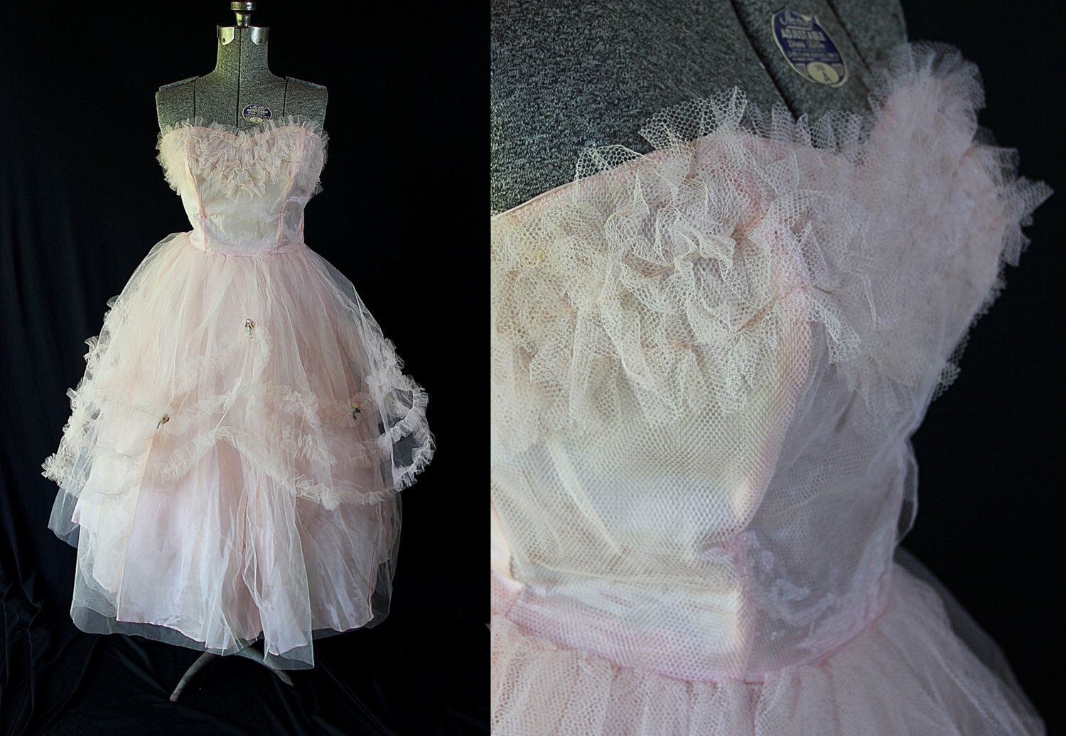 S prom dress pink tulle cupcake vintage wedding by petticoatsplus