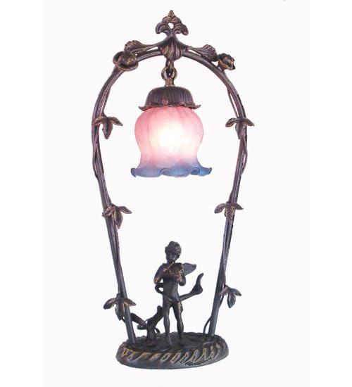 """Meyda Tiffany 12655 19""""H Cherub With Violin Accent Lamp"""