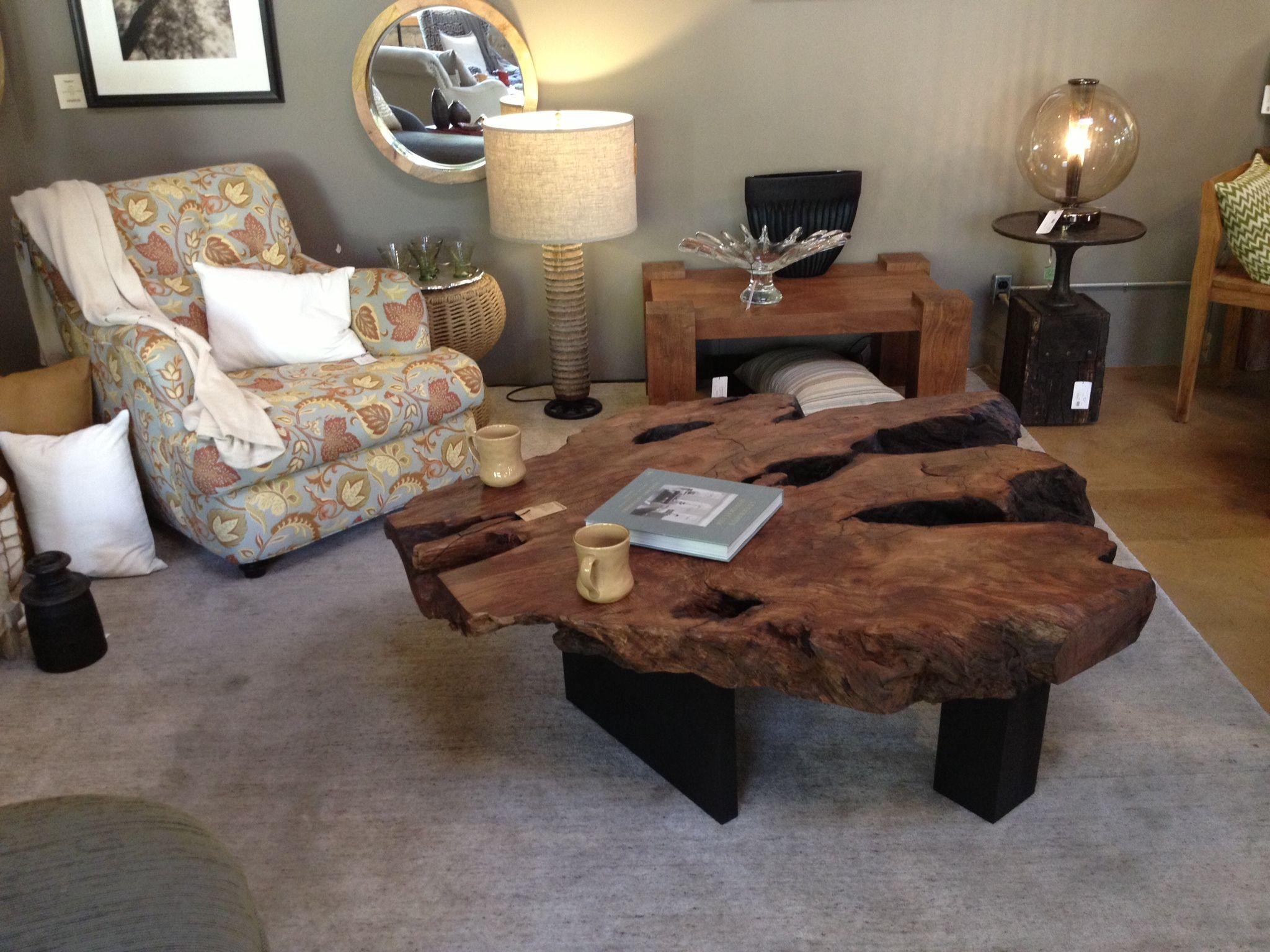redwood burl coffee table steel legs