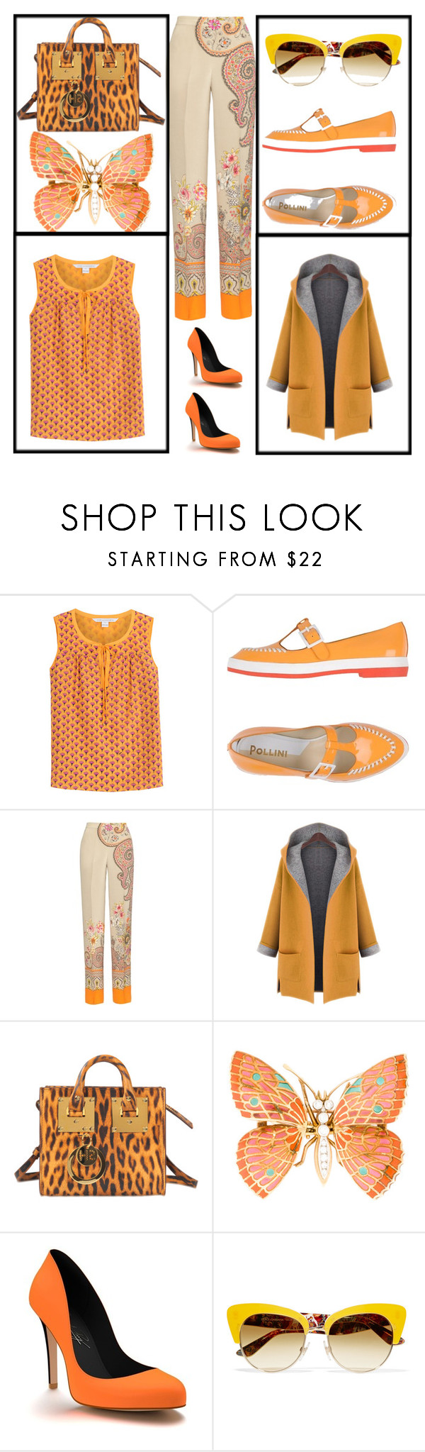"""""""🌻Floral print silky trouser 🌻"""" by jojoberryperry ❤ liked on Polyvore featuring Diane Von Furstenberg, Pollini, Etro, WithChic, Sophie Hulme, Shoes of Prey and Dolce&Gabbana"""