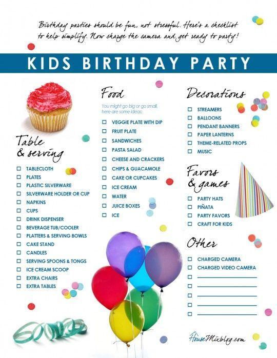 Kids birthday party checklist Birthdays, Birthday party checklist