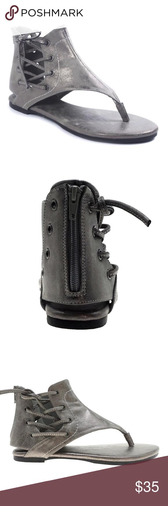 9527ac29f0b7 ️PEWTER GLADIATOR SANDAL Brand New Pierre Dumas Adele-2 Sandal ‼