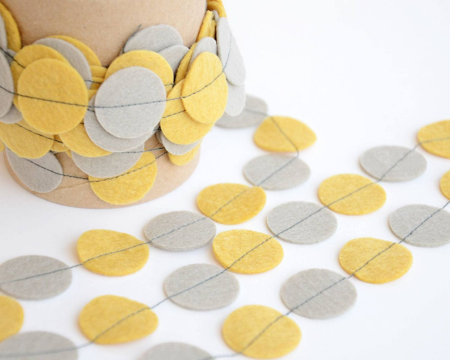 Wedding decorations yellow and gray  Wedding decoration  Felt garland banner  Engagement photo  Garden