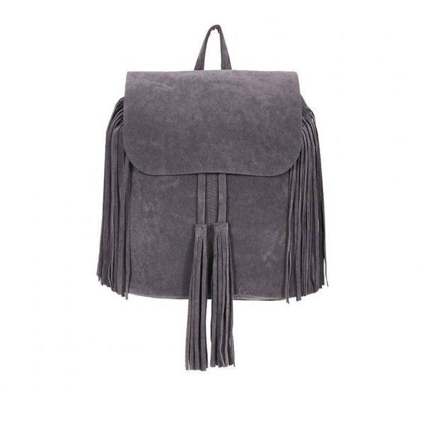 Yoins Yoins Grey Fringe Backpack (91 BRL) ❤ liked on Polyvore featuring bags, backpacks, handbags, yoins, grey, zipper bag, grey bag, fringe backpack, draw string backpack and gray backpack