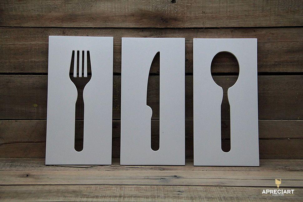 75876c286 Kit 3 Quadros Talheres p  Cozinha.  br   br Deixe sua cozinha mais colorida  e atraente com os Quadros Talheres