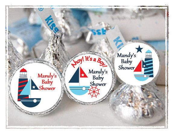 personalized nautical hershey kisses labels  baby shower favors, Baby shower invitation