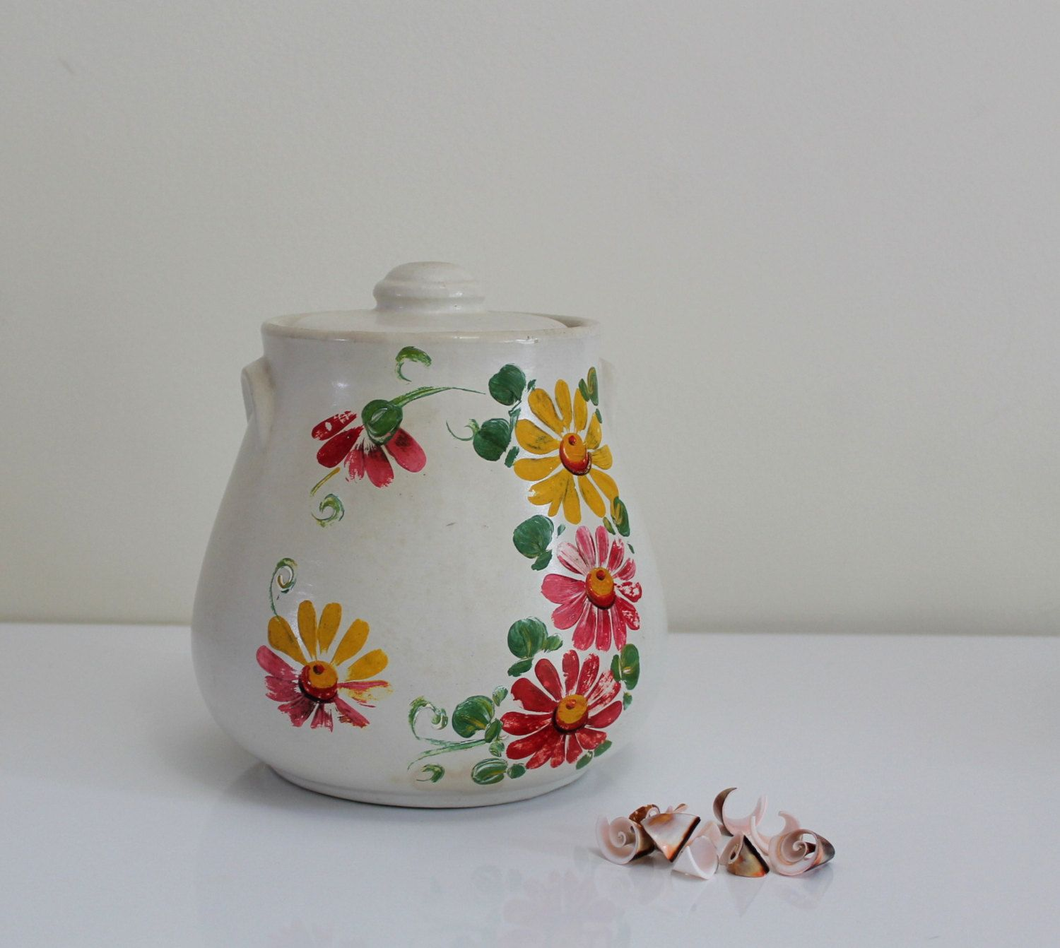 Ceramic Cookie Jar Sets Vintage Ransburg White Ceramic Pottery Cookie Jar Hand