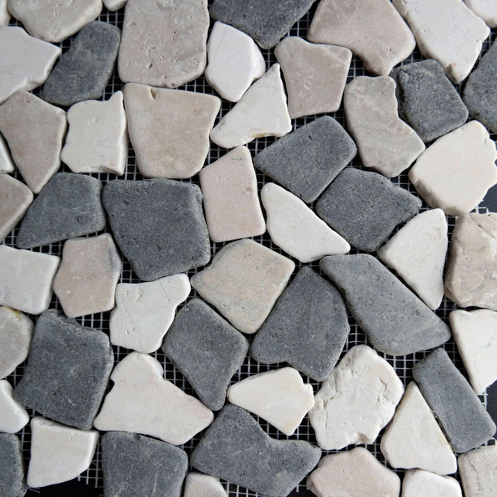 Beige Black Flat Stone Pebble Mosaic Tile Wall Floor Kitchen Bathroom Shower Fireplace Indoor Outdoor