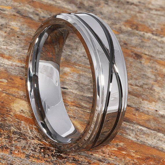 Tungsten Ring Mens Wedding Band Infinity Ring Wedding Ring Black