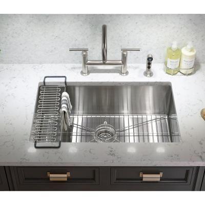Kohler Strive Undermount Stainless Steel 29 In Single Bowl Kitchen Sink With Single Bowl Kitchen Sink Sink Single Basin Kitchen Sink