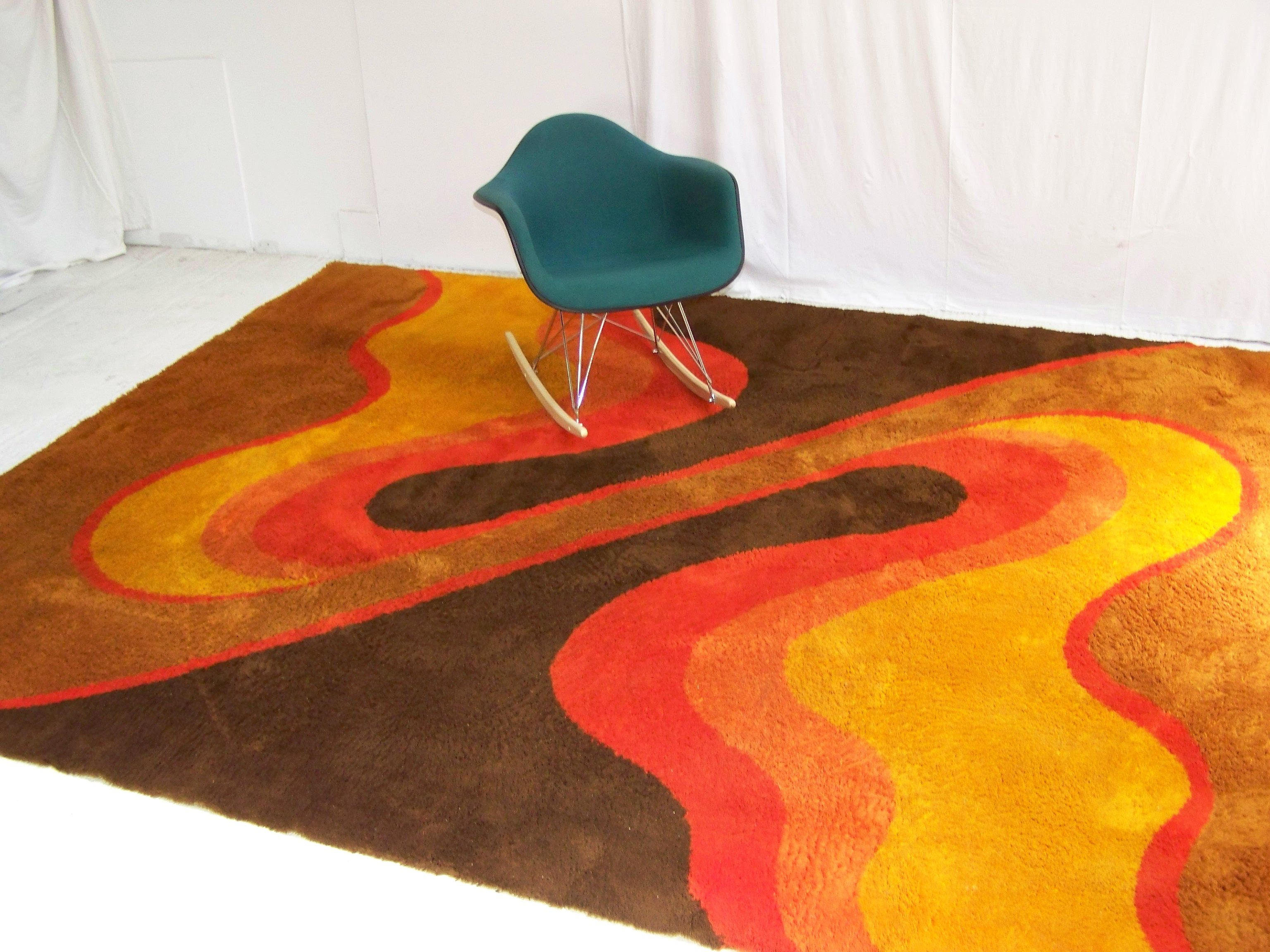 Huge Abstract Retro Floor Rug Shag Pile 1970s Retro
